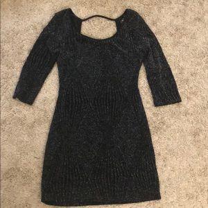 Black ¾ sleeve shimmer-y dress